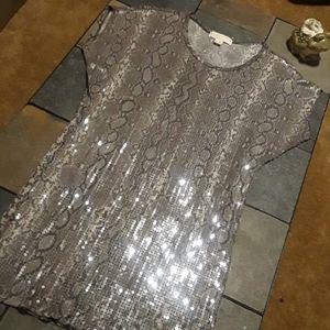 Michael Kors Python Crew Neck Shift Dress